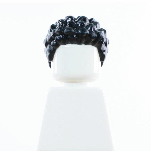 Haare, stehend, lockig, schwarz